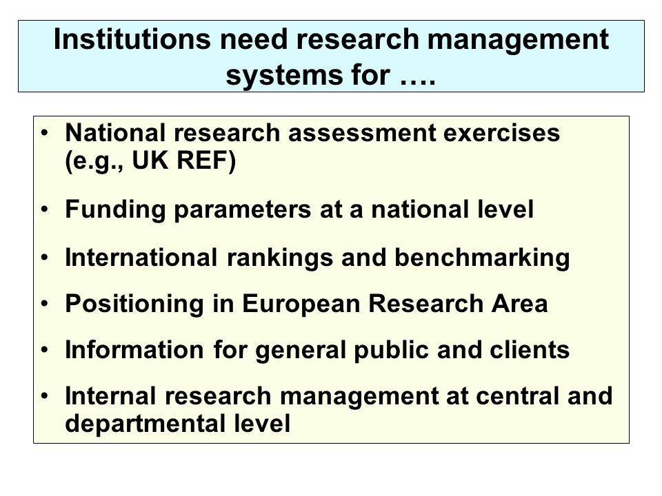 Institutions need research management systems for …. National research assessment exercises (e.g., UK REF) Funding parameters at a national level Inte