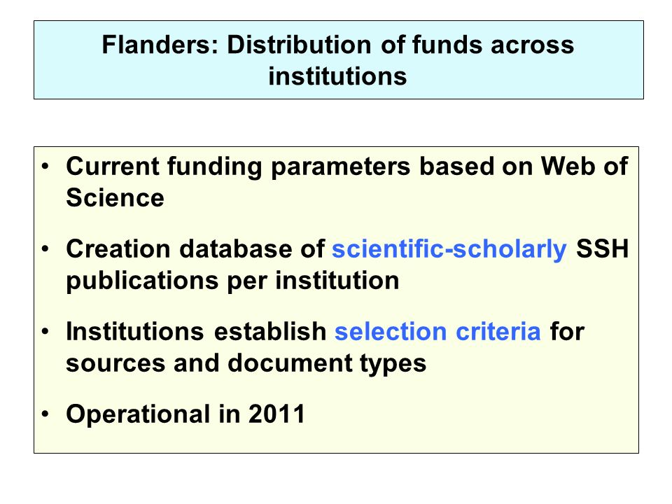 Flanders: Distribution of funds across institutions Current funding parameters based on Web of Science Creation database of scientific-scholarly SSH publications per institution Institutions establish selection criteria for sources and document types Operational in 2011