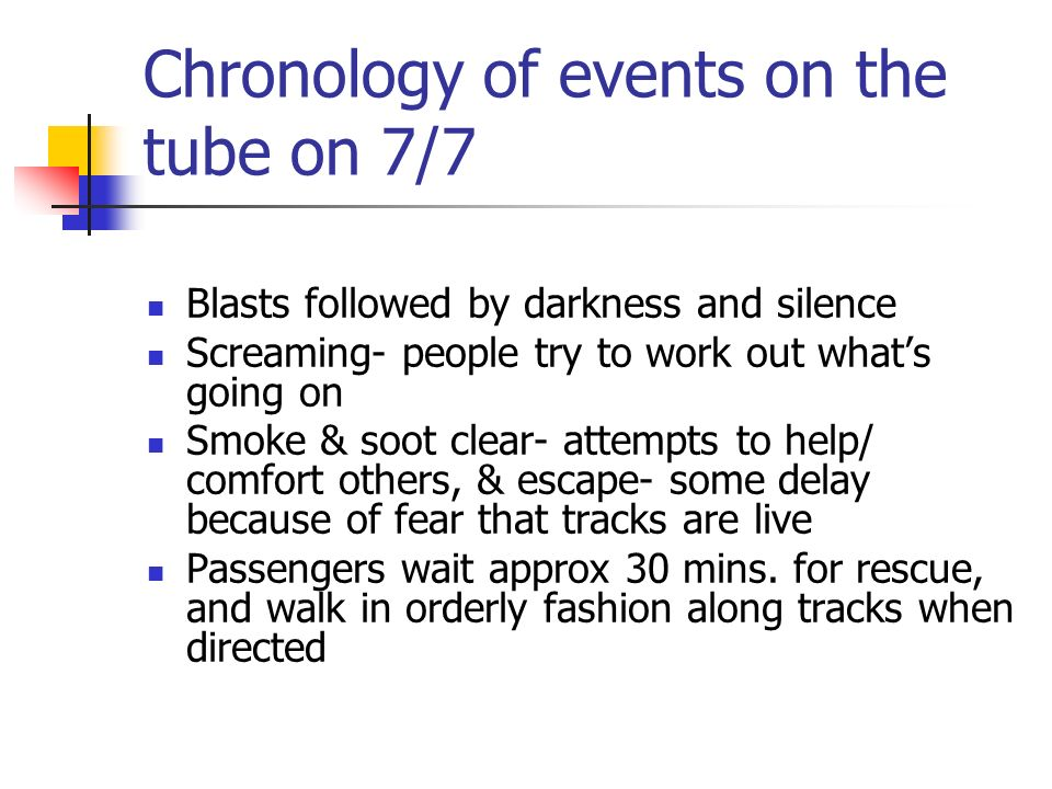 Chronology of events on the tube on 7/7 Blasts followed by darkness and silence Screaming- people try to work out whats going on Smoke & soot clear- a