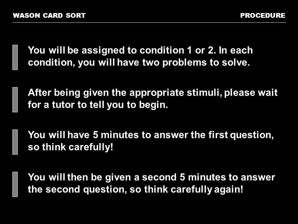 You will be assigned to condition 1 or 2. In each condition, you will have two problems to solve.