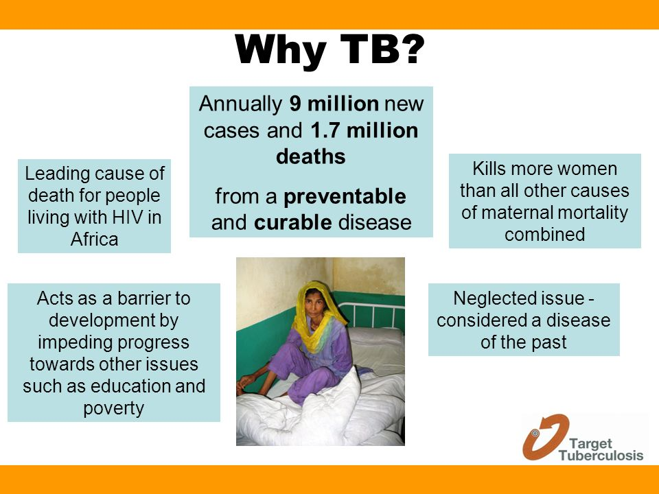 Why TB? Annually 9 million new cases and 1.7 million deaths from a preventable and curable disease Acts as a barrier to development by impeding progre
