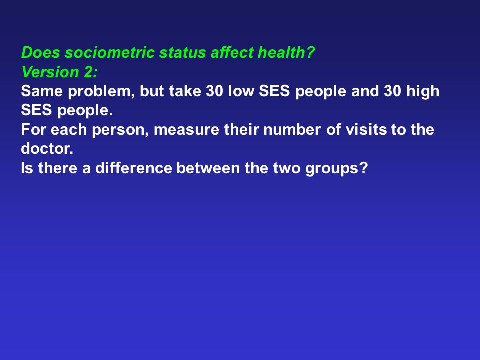 Does sociometric status affect health? Version 2: Same problem, but take 30 low SES people and 30 high SES people. For each person, measure their numb