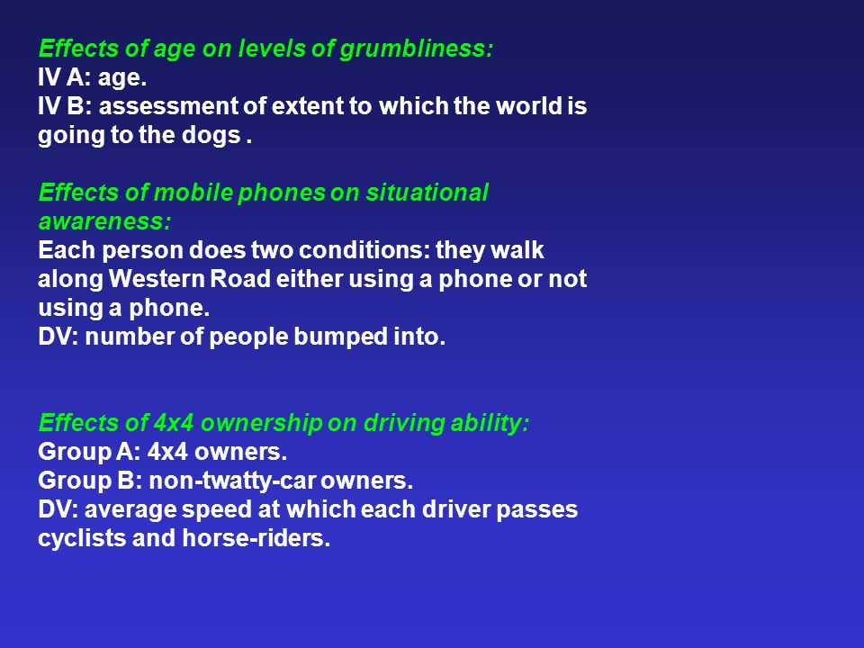 Effects of age on levels of grumbliness: IV A: age. IV B: assessment of extent to which the world is going to the dogs. Effects of mobile phones on si