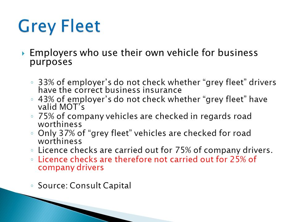 Employers who use their own vehicle for business purposes 33% of employers do not check whether grey fleet drivers have the correct business insurance 43% of employers do not check whether grey fleet have valid MOTs 75% of company vehicles are checked in regards road worthiness Only 37% of grey fleet vehicles are checked for road worthiness Licence checks are carried out for 75% of company drivers.
