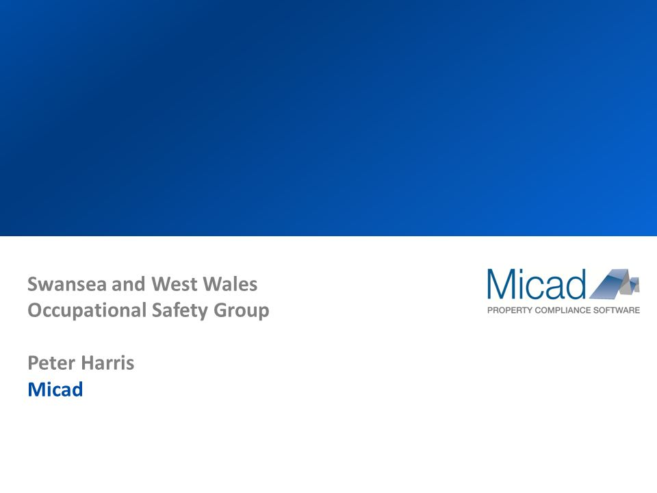 Swansea and West Wales Occupational Safety Group Peter Harris Micad