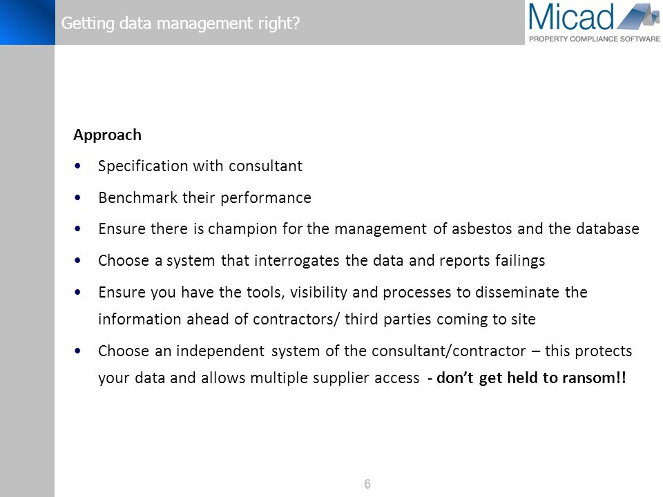 6 Getting data management right.