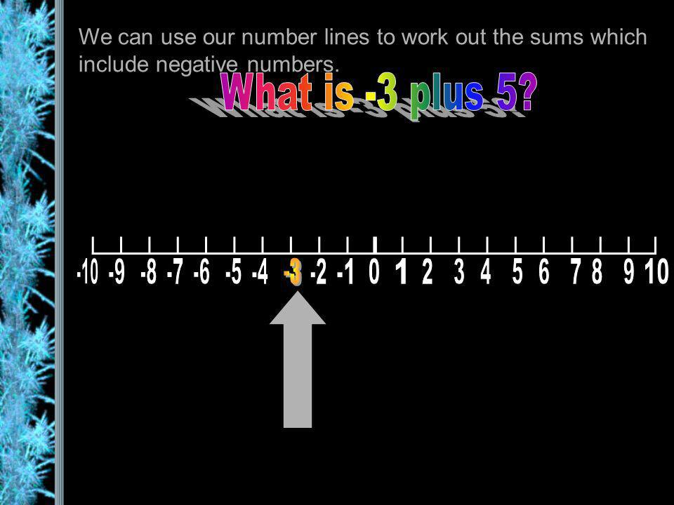 We can use our number lines to work out the sums which include negative numbers. We start at -3