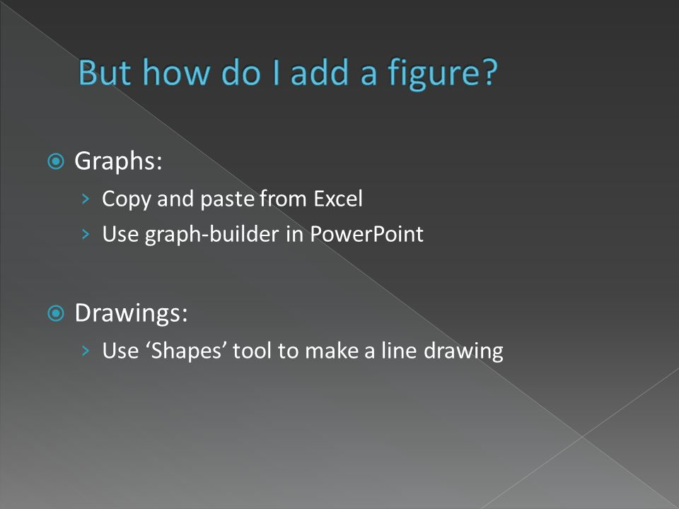 Graphs: Copy and paste from Excel Use graph-builder in PowerPoint Drawings: Use Shapes tool to make a line drawing