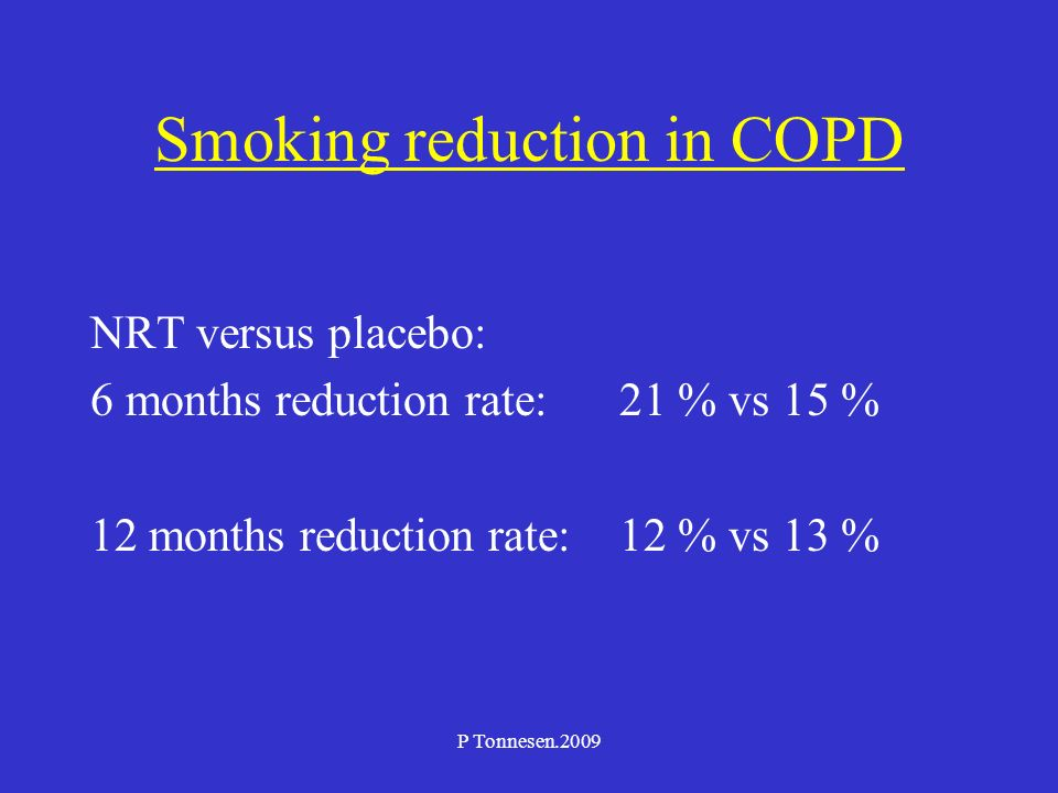 P Tonnesen.2009 Smoking reduction in COPD NRT versus placebo: 6 months reduction rate: 21 % vs 15 % 12 months reduction rate:12 % vs 13 %