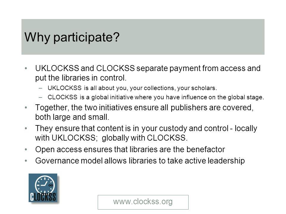 Why participate.