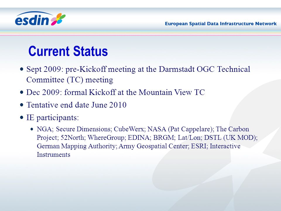 Sept 2009: pre-Kickoff meeting at the Darmstadt OGC Technical Committee (TC) meeting Dec 2009: formal Kickoff at the Mountain View TC Tentative end date June 2010 IE participants: NGA; Secure Dimensions; CubeWerx; NASA (Pat Cappelare); The Carbon Project; 52North; WhereGroup; EDINA; BRGM; Lat/Lon; DSTL (UK MOD); German Mapping Authority; Army Geospatial Center; ESRI; Interactive Instruments Current Status