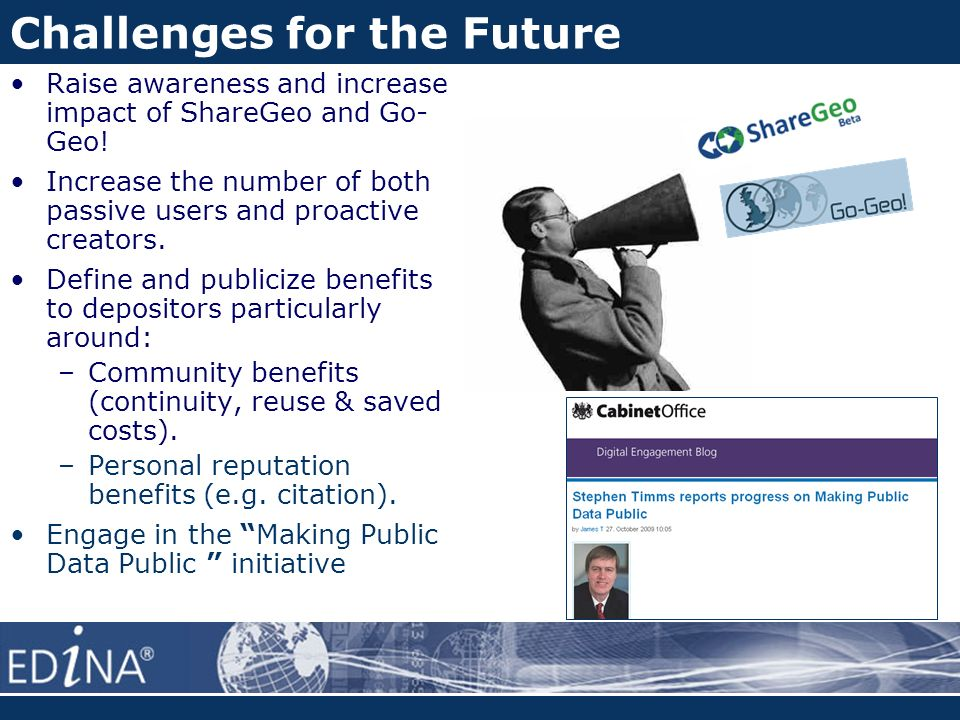 Challenges for the Future Raise awareness and increase impact of ShareGeo and Go- Geo.