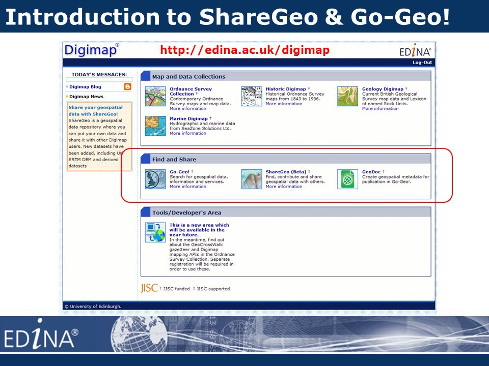 Introduction to ShareGeo & Go-Geo! http://edina.ac.uk/digimap