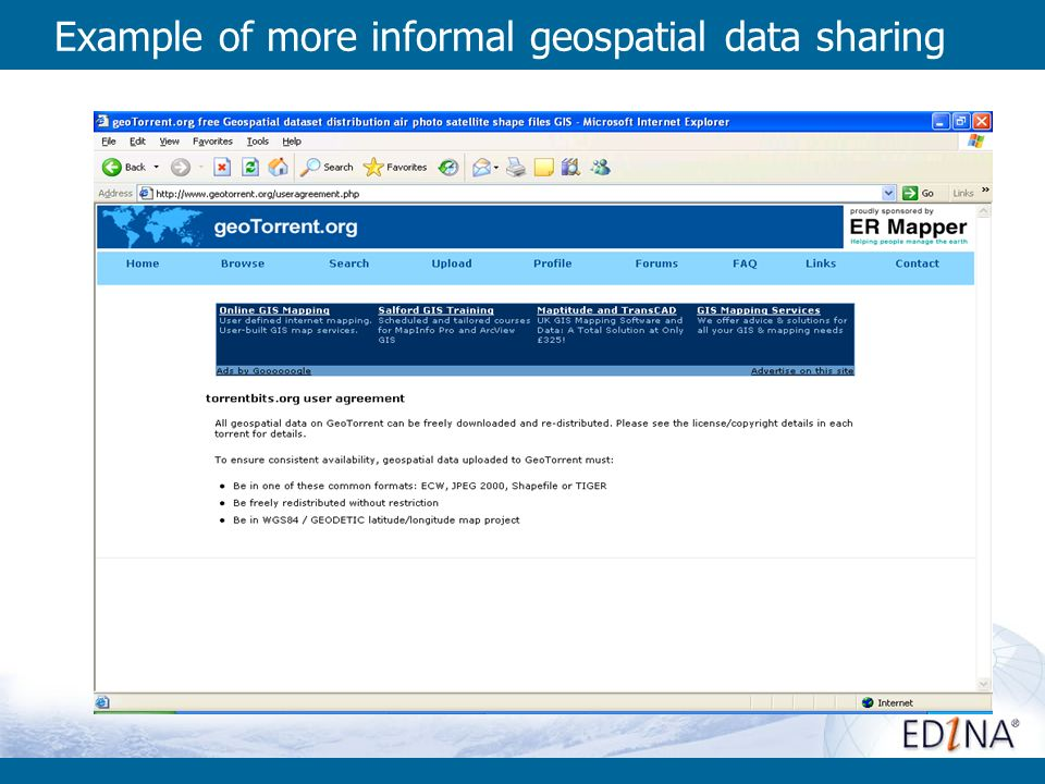 Example of more informal geospatial data sharing