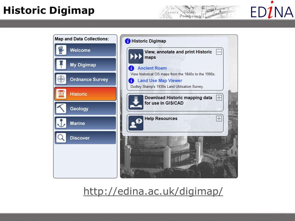 Viewing historical maps Click and drag the red box to move to a new location
