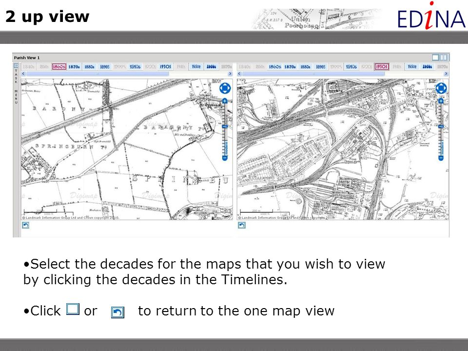 Select the decades for the maps that you wish to view by clicking the decades in the Timelines.