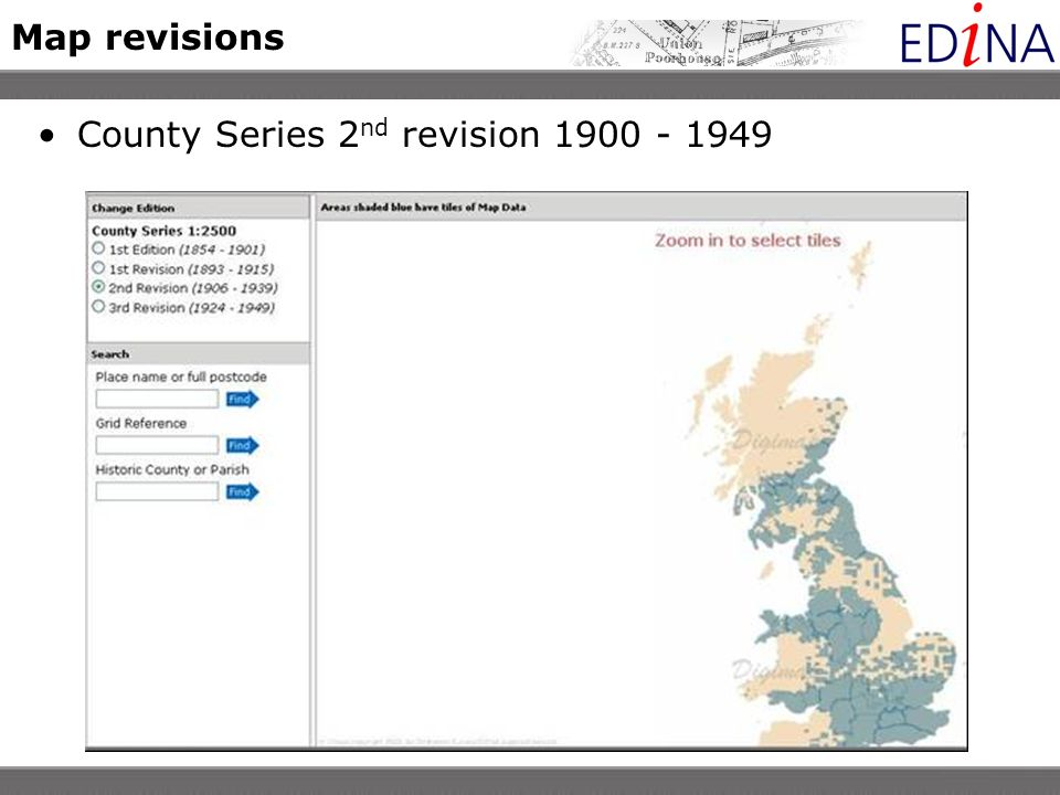 Map revisions County Series 2 nd revision 1900 - 1949