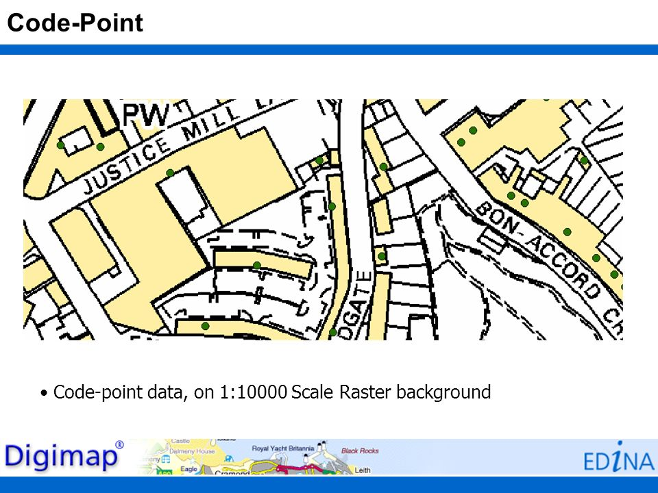 Code-Point Code-point data, on 1:10000 Scale Raster background