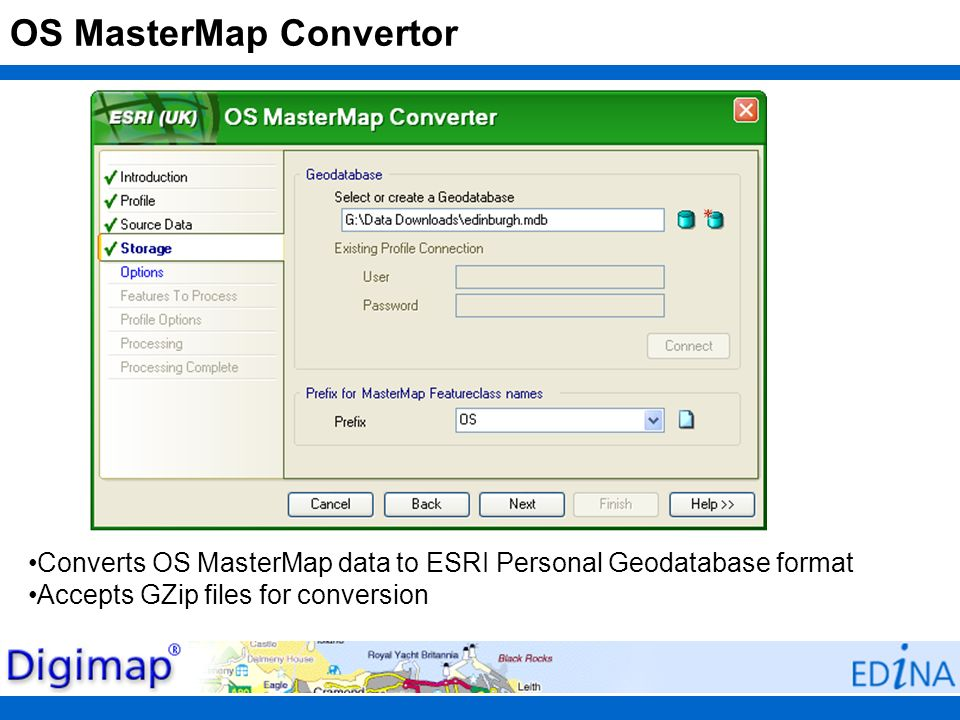OS MasterMap Convertor Converts OS MasterMap data to ESRI Personal Geodatabase format Accepts GZip files for conversion