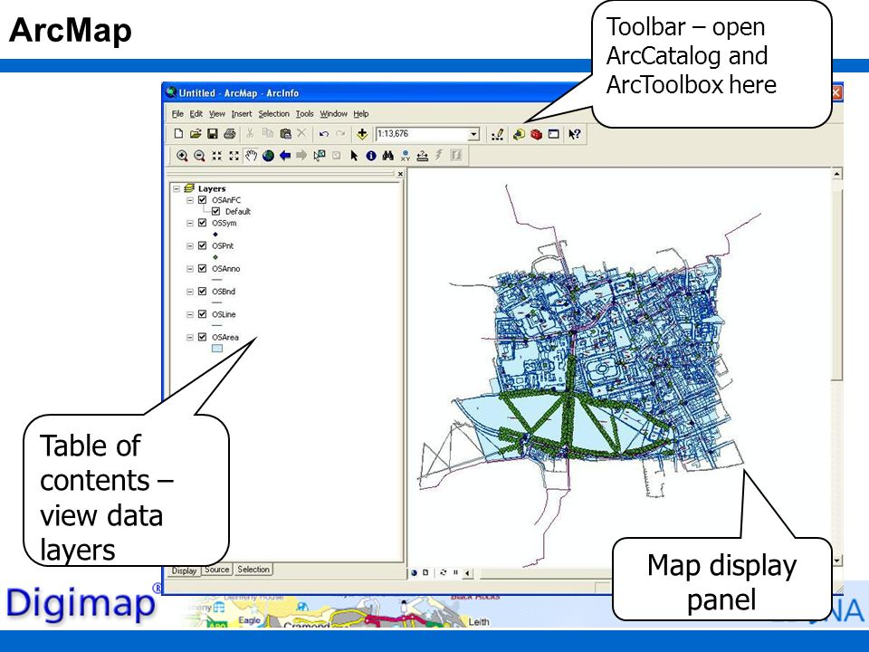 ArcMap Map display panel Table of contents – view data layers Toolbar – open ArcCatalog and ArcToolbox here