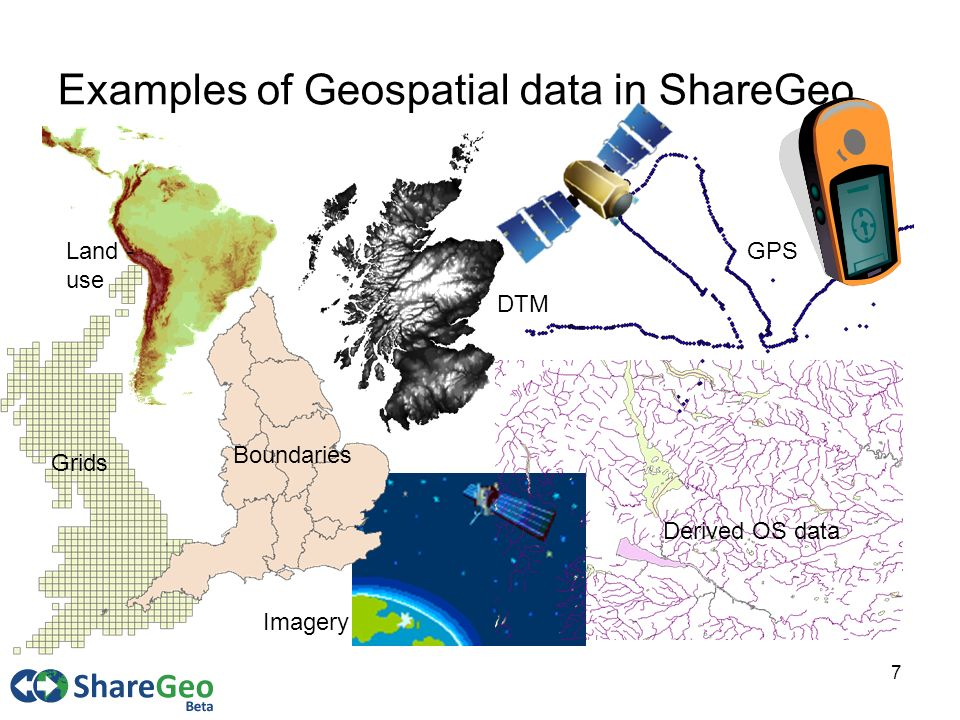 7 Examples of Geospatial data in ShareGeo Grids Boundaries DTM Derived OS data GPSLand - use Imagery