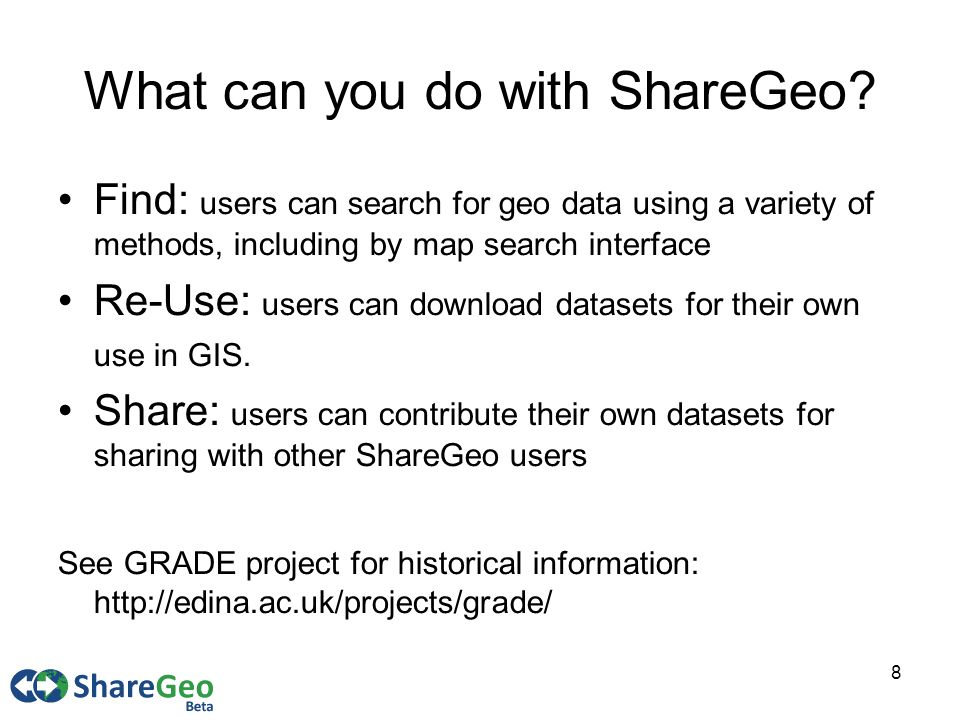 8 What can you do with ShareGeo.