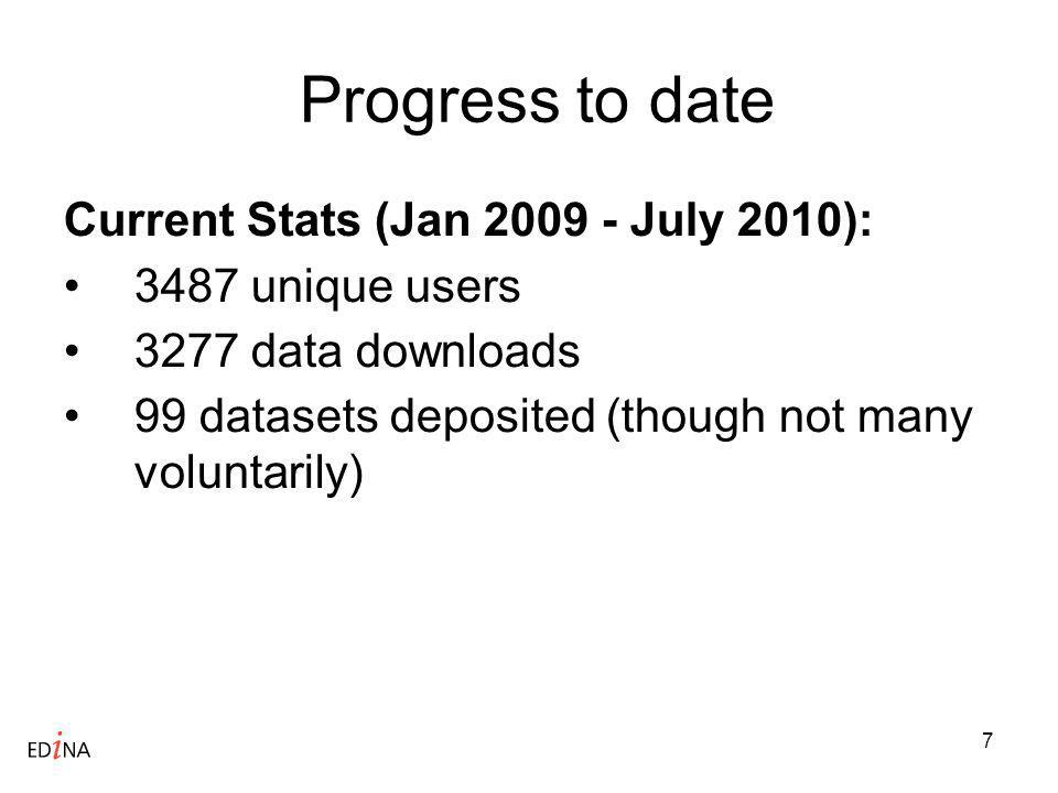 7 Progress to date Current Stats (Jan 2009 - July 2010): 3487 unique users 3277 data downloads 99 datasets deposited (though not many voluntarily)