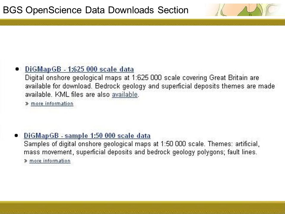 BGS OpenScience Data Downloads Section