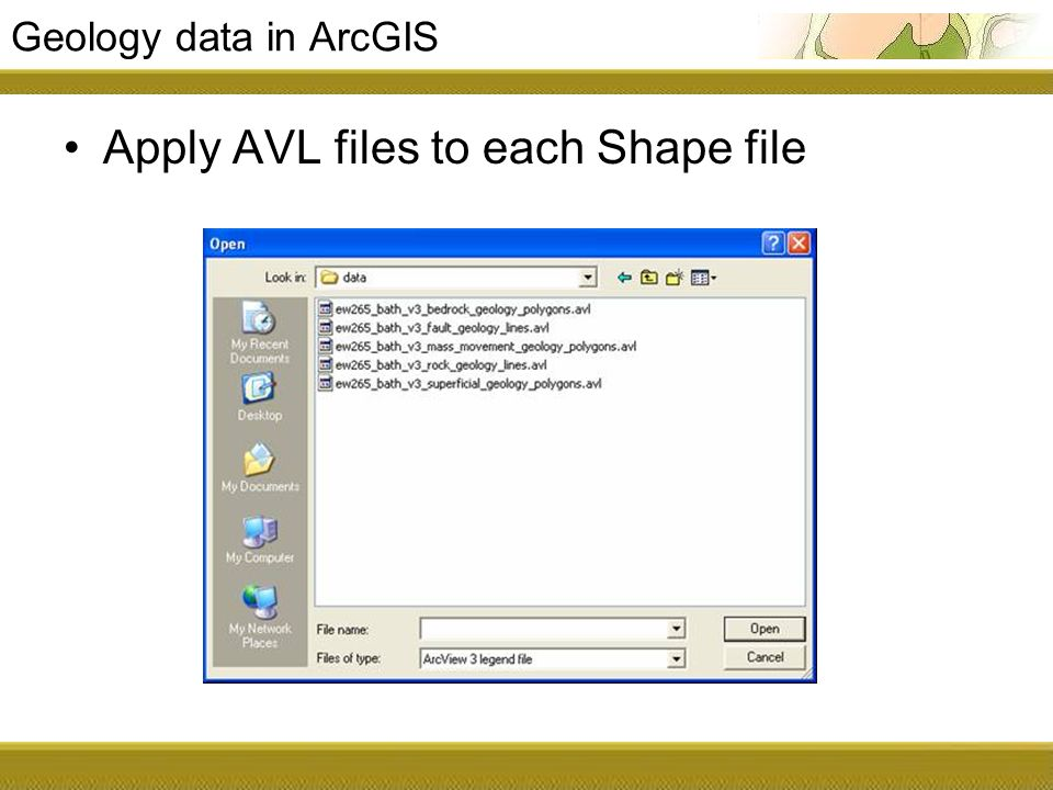 Geology data in ArcGIS Apply AVL files to each Shape file