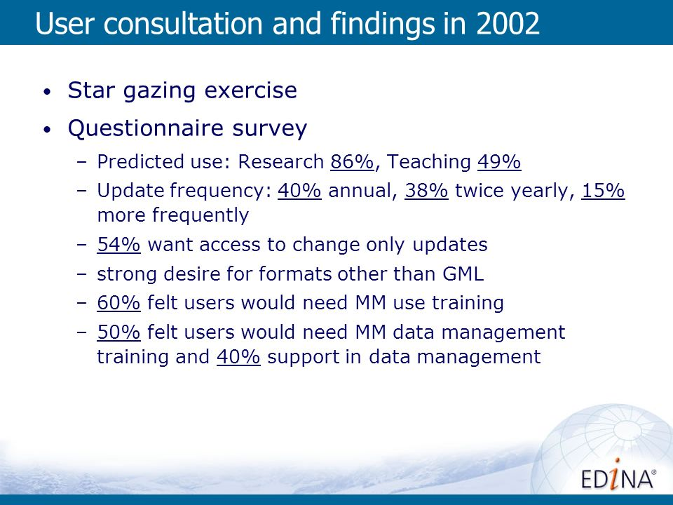 User consultation and findings in 2002 Star gazing exercise Questionnaire survey –Predicted use: Research 86%, Teaching 49% –Update frequency: 40% annual, 38% twice yearly, 15% more frequently –54% want access to change only updates –strong desire for formats other than GML –60% felt users would need MM use training –50% felt users would need MM data management training and 40% support in data management