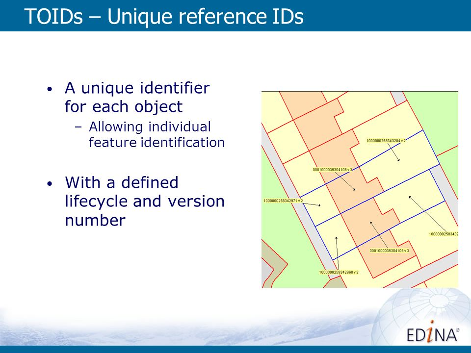 TOIDs – Unique reference IDs A unique identifier for each object –Allowing individual feature identification With a defined lifecycle and version numb