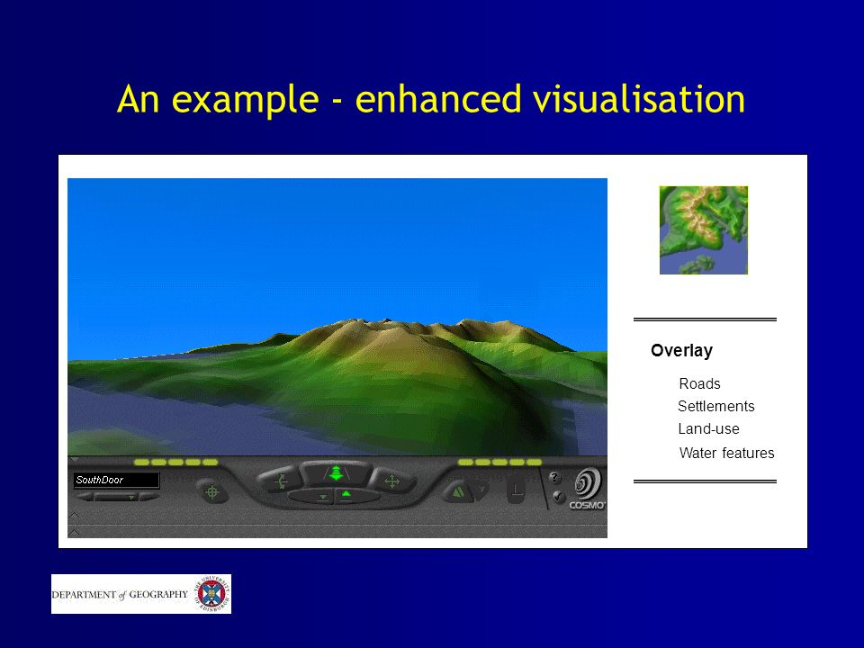 An example - enhanced visualisation Overlay Roads Settlements Land-use Water features