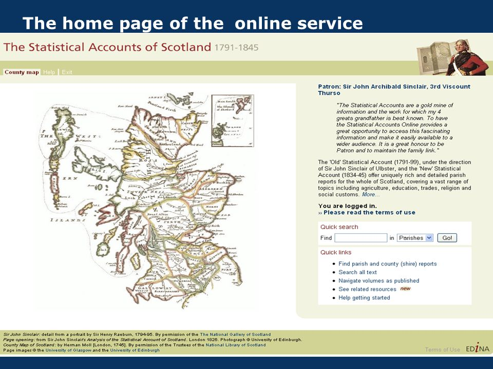The home page of the online service
