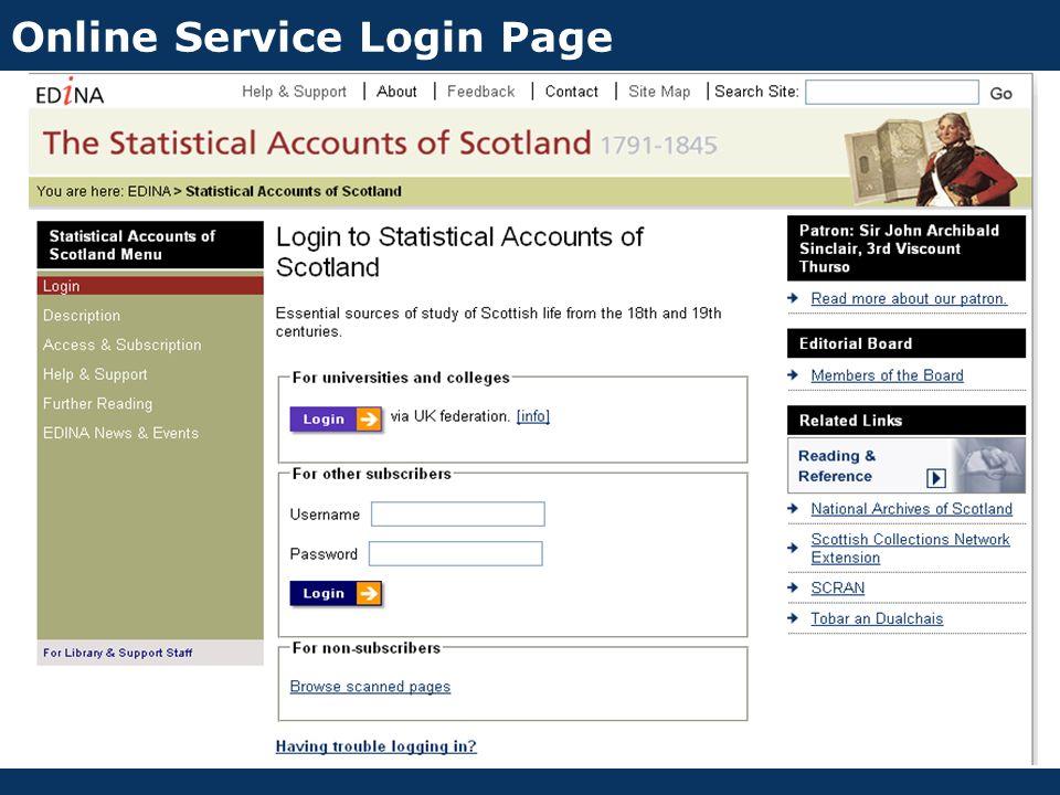 Online Service Login Page