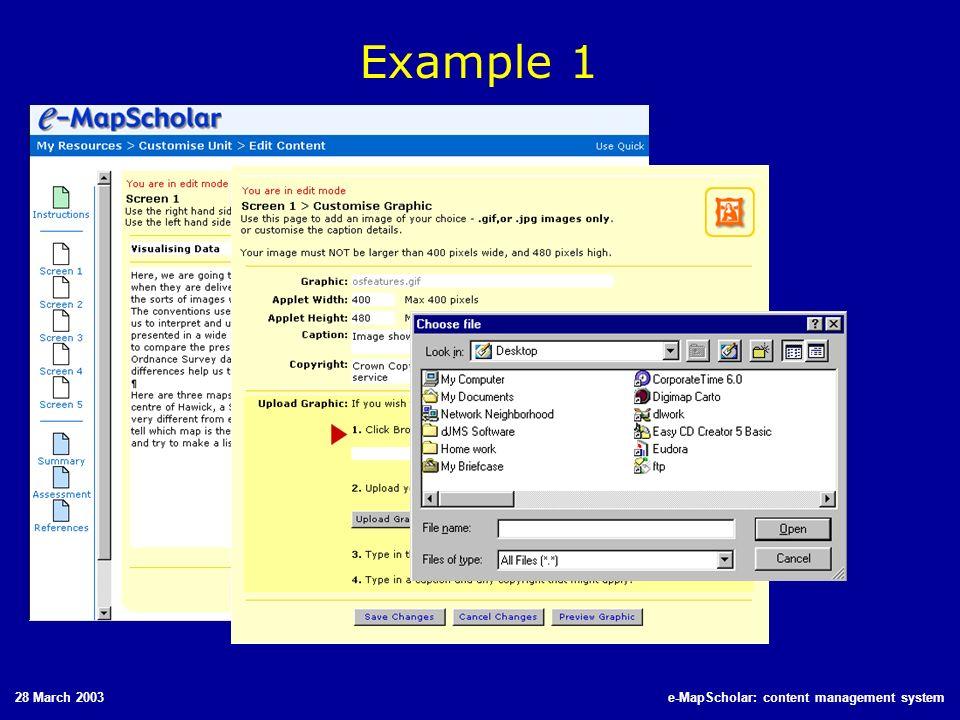 28 March 2003e-MapScholar: content management system Example 1