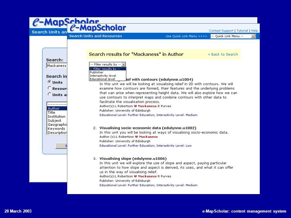 28 March 2003e-MapScholar: content management system