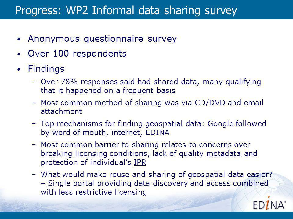 Progress: WP2 Informal data sharing survey Anonymous questionnaire survey Over 100 respondents Findings –Over 78% responses said had shared data, many qualifying that it happened on a frequent basis –Most common method of sharing was via CD/DVD and  attachment –Top mechanisms for finding geospatial data: Google followed by word of mouth, internet, EDINA –Most common barrier to sharing relates to concerns over breaking licensing conditions, lack of quality metadata and protection of individuals IPR –What would make reuse and sharing of geospatial data easier.