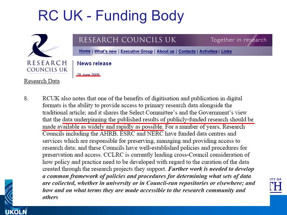 A centre of expertise in digital information management www.ukoln.ac.uk RC UK - Funding Body