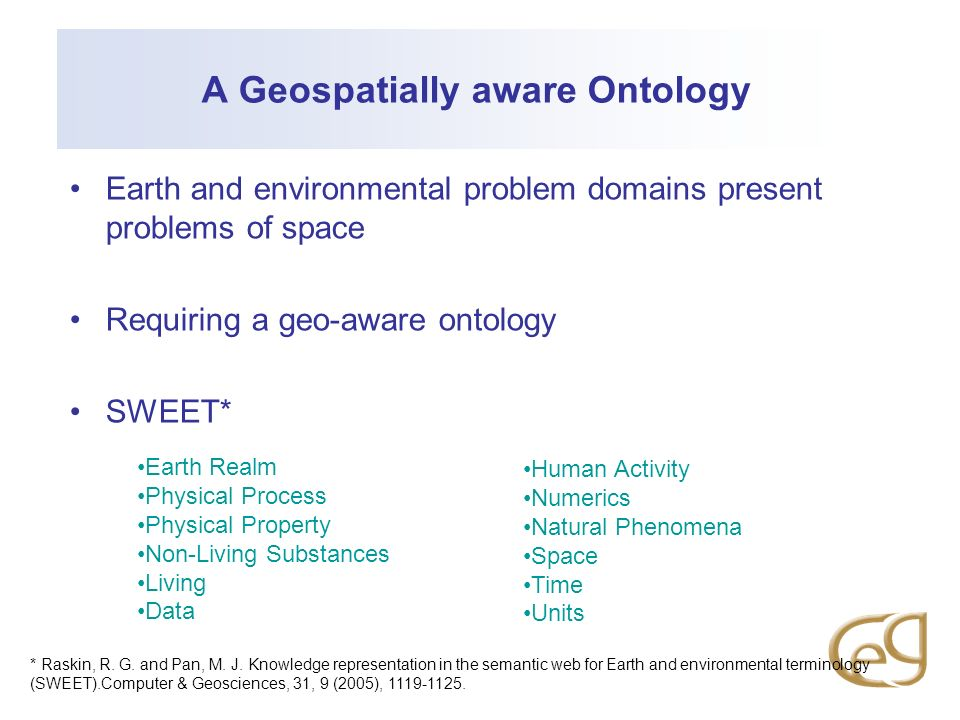 A Geospatially aware Ontology Earth and environmental problem domains present problems of space Requiring a geo-aware ontology SWEET* Earth Realm Physical Process Physical Property Non-Living Substances Living Data Human Activity Numerics Natural Phenomena Space Time Units * Raskin, R.