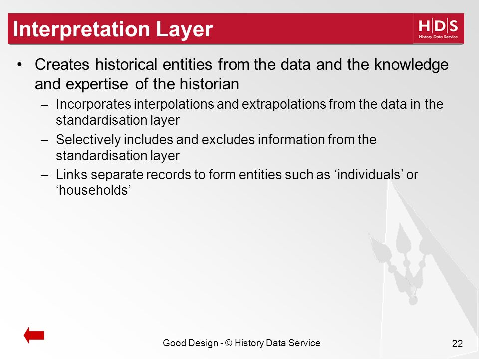Good Design - © History Data Service 22 Interpretation Layer Creates historical entities from the data and the knowledge and expertise of the historian –Incorporates interpolations and extrapolations from the data in the standardisation layer –Selectively includes and excludes information from the standardisation layer –Links separate records to form entities such as individuals or households
