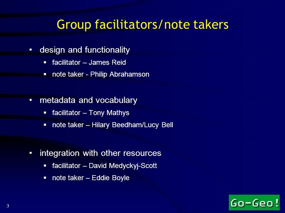 3 Group facilitators/note takers design and functionality facilitator – James Reid note taker - Philip Abrahamson metadata and vocabulary facilitator