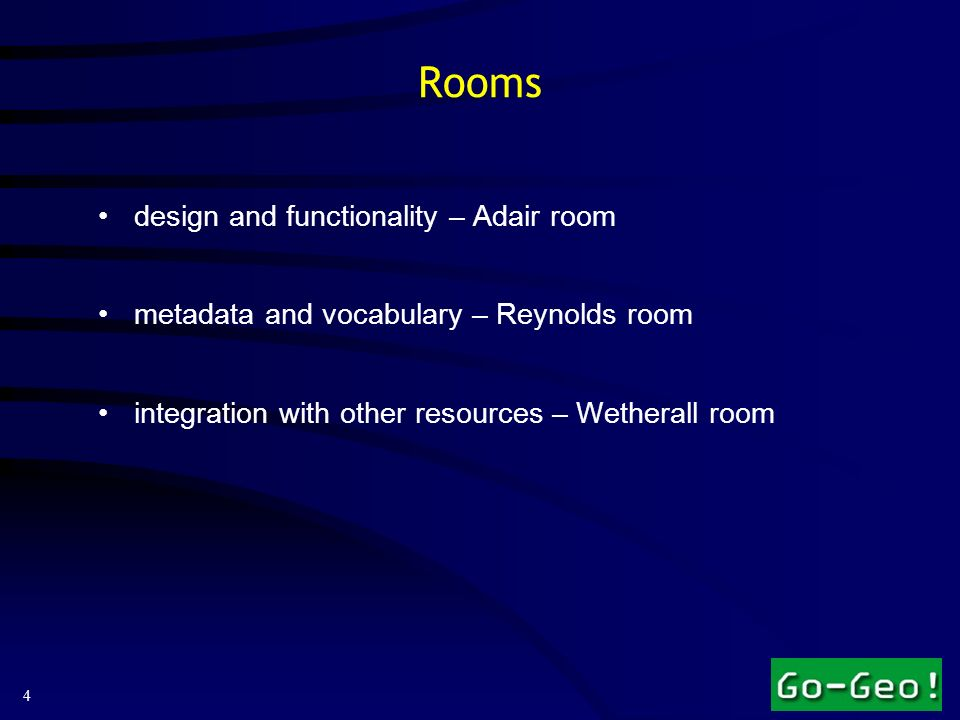 4 Rooms design and functionality – Adair room metadata and vocabulary – Reynolds room integration with other resources – Wetherall room