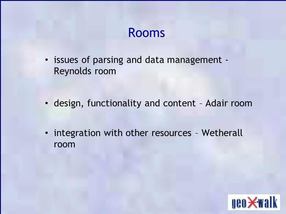 4 Rooms issues of parsing and data management - Reynolds room design, functionality and content – Adair room integration with other resources – Wether