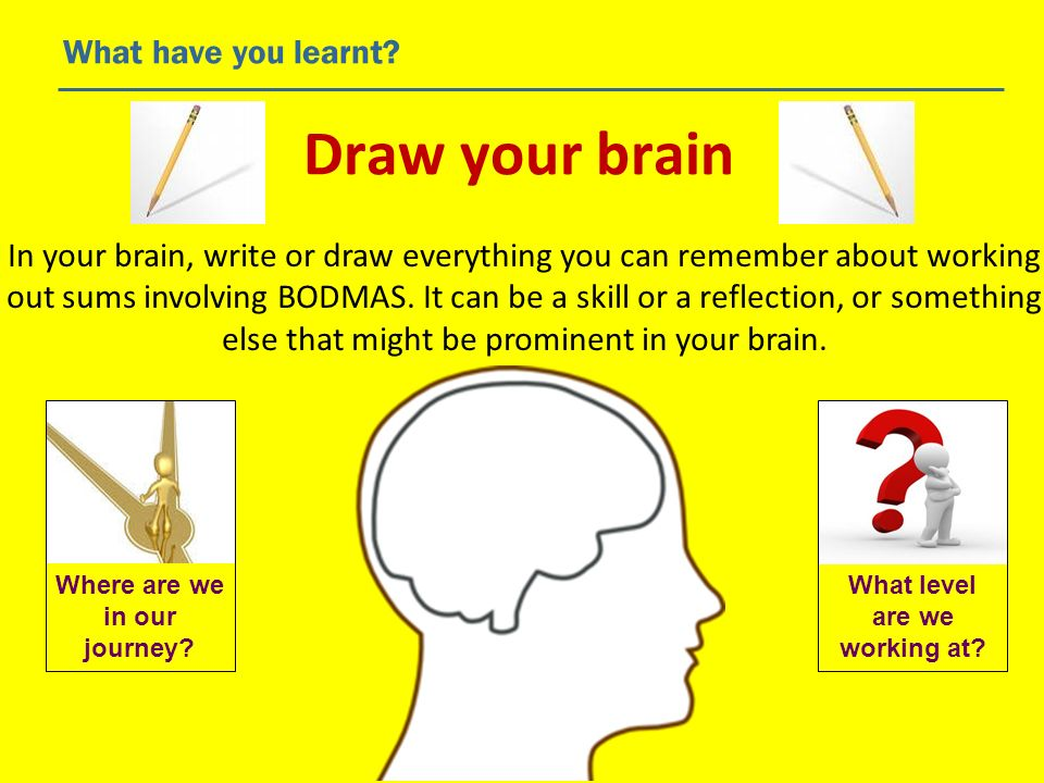 Draw your brain What have you learnt? In your brain, write or draw everything you can remember about working out sums involving BODMAS. It can be a sk
