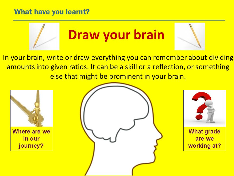 Draw your brain What have you learnt? In your brain, write or draw everything you can remember about dividing amounts into given ratios. It can be a s