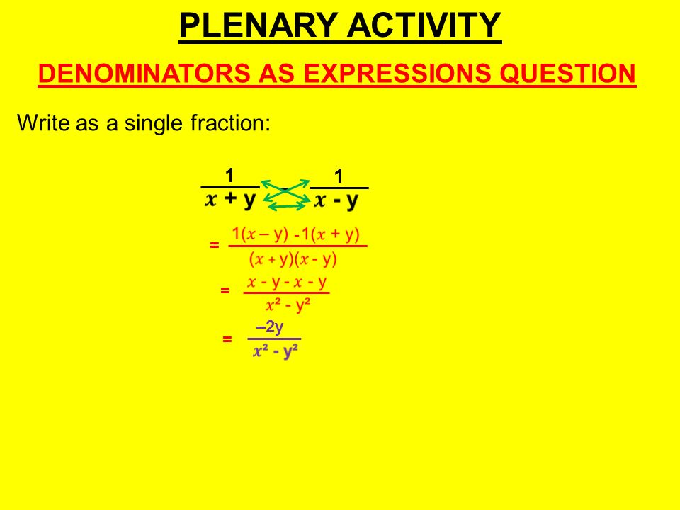 PLENARY ACTIVITY DENOMINATORS AS EXPRESSIONS QUESTION - 1 = - = = –2y 1 Write as a single fraction: