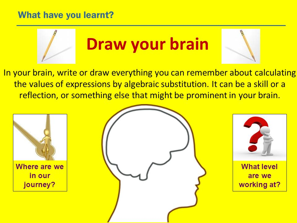 Draw your brain What have you learnt? In your brain, write or draw everything you can remember about calculating the values of expressions by algebrai