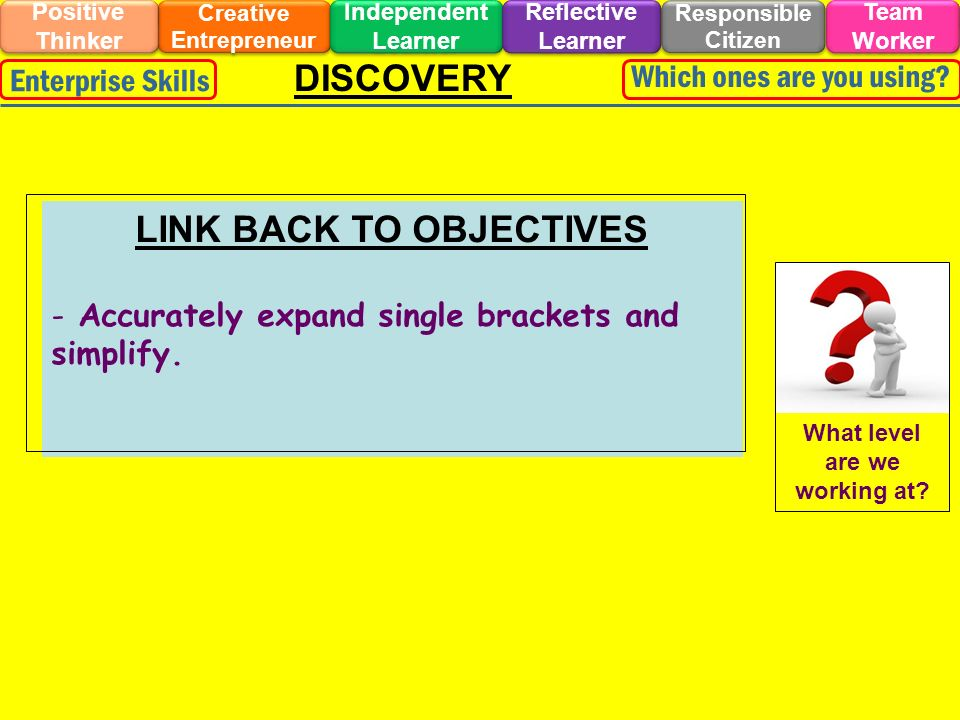 DISCOVERY LINK BACK TO OBJECTIVES - Accurately expand single brackets and simplify. Creative Entrepreneur Responsible Citizen Independent Learner Posi