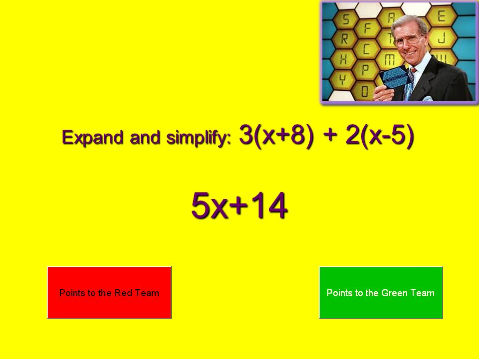 Expand and simplify: 3(x+8) + 2(x-5) 5x+14