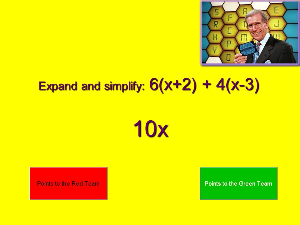 Expand and simplify: 6(x+2) + 4(x-3) 10x